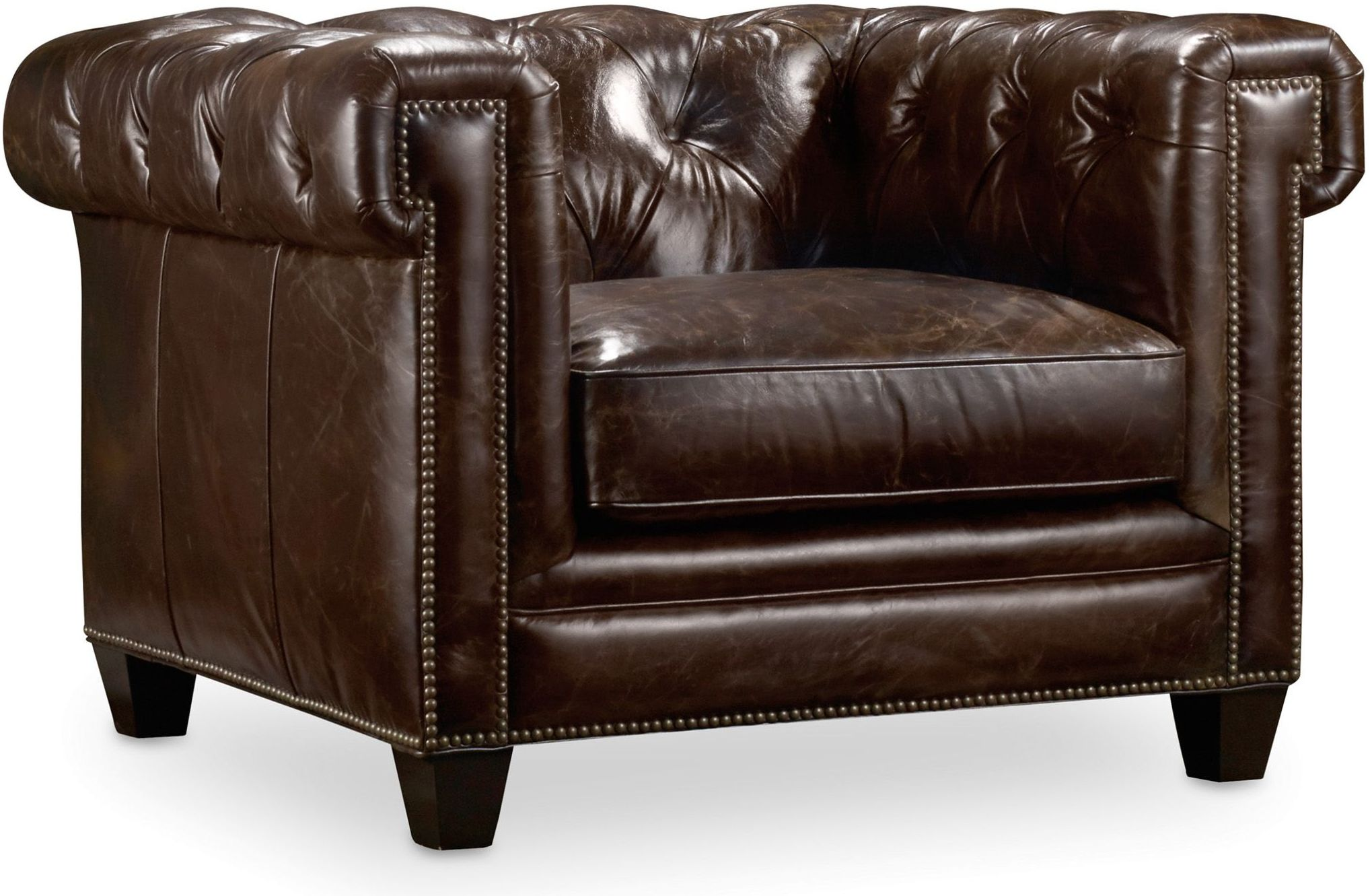 dark brown leather chair swivel dining room chairs hooker chester collection 7