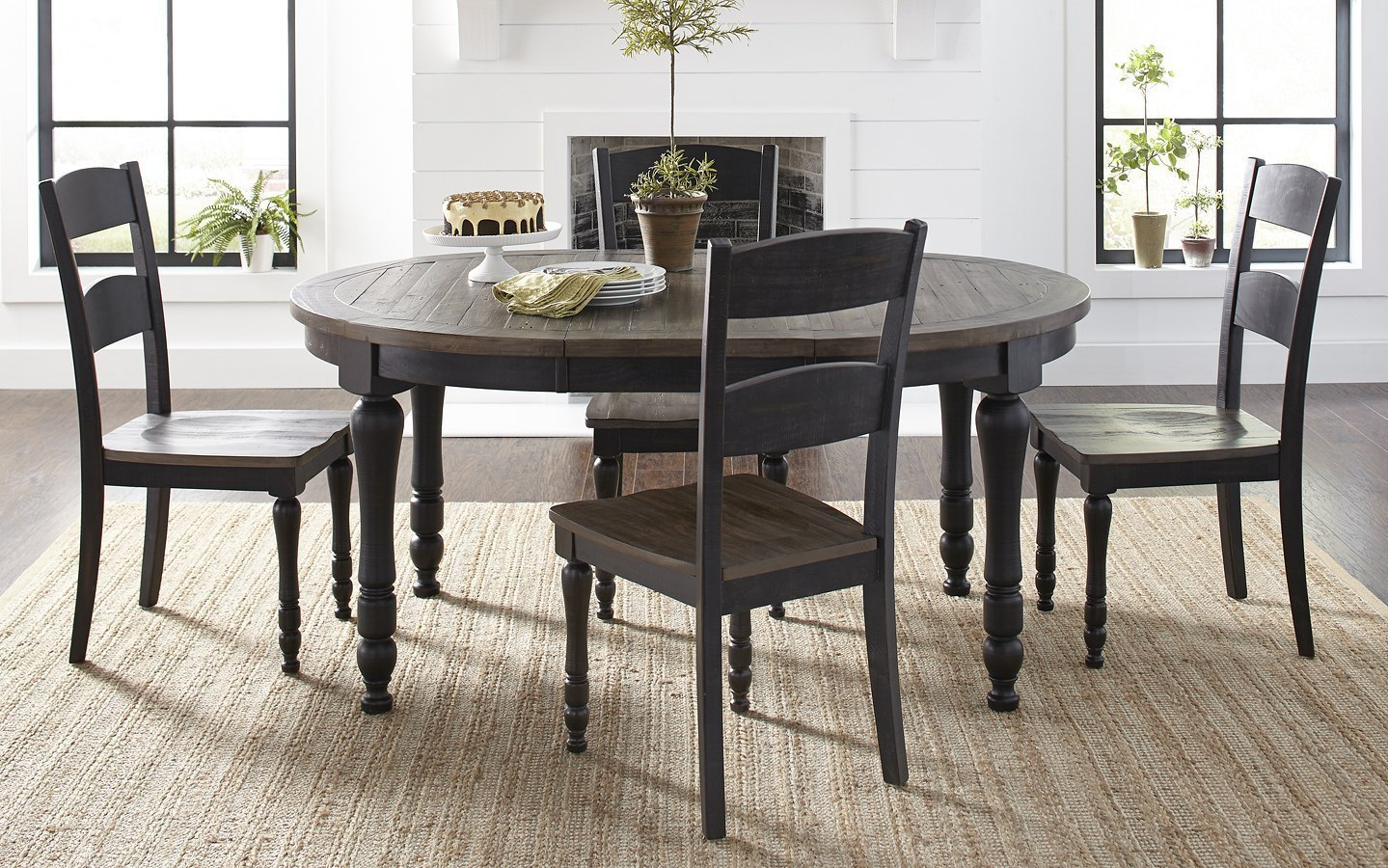 Madison County Round To Oval Dining Room Set Vintage Black 1stopbedrooms