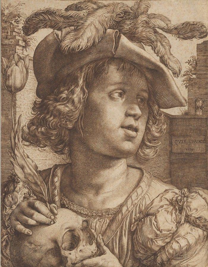 Hombre joven sujetando una calavera y un tulipán