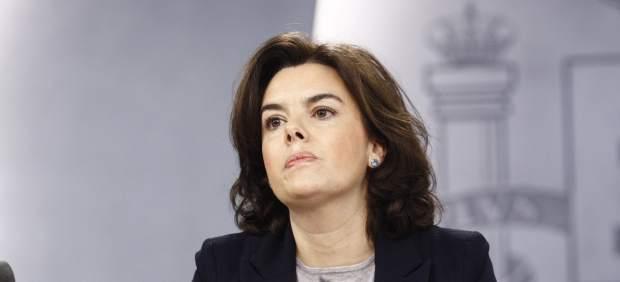 Soraya Sáenz de Santamaría en la rueda de prensa tras el Consejo de Ministros