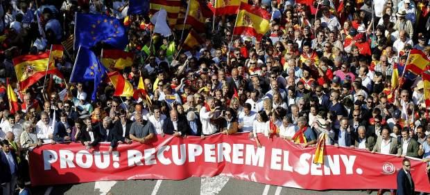 Manifestación a favor de la unidad de Cataluña y España