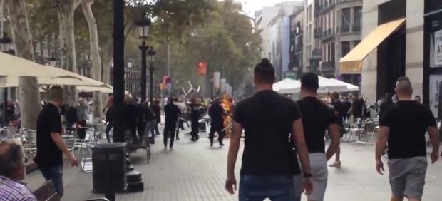 Disturbios en la plaza de Catalunya