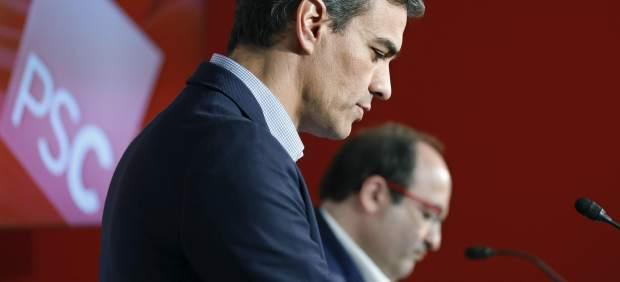 Pedro Sánchez, secretario general del PSOE, y Miquel Iceta, primer secretario del PSC.