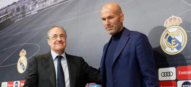 Florentino Pérez y Zinedine Zidane, en la despedida del francés del Real Madrid.