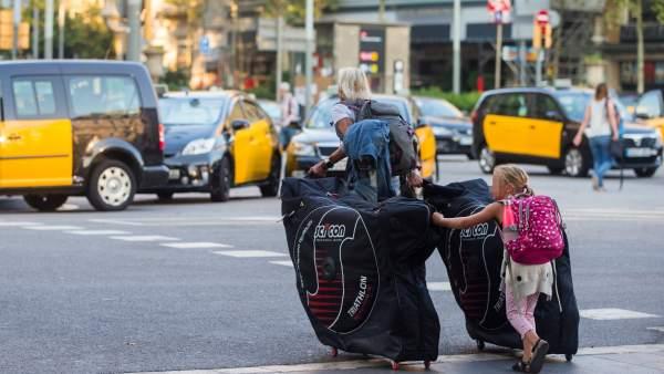Protestas de los taxistas en Barcelona