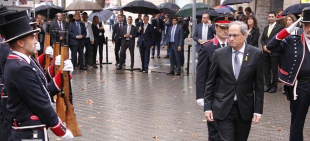 El presidente de la Generalitat Quim Torra, en la ofenda floral de la Diada.