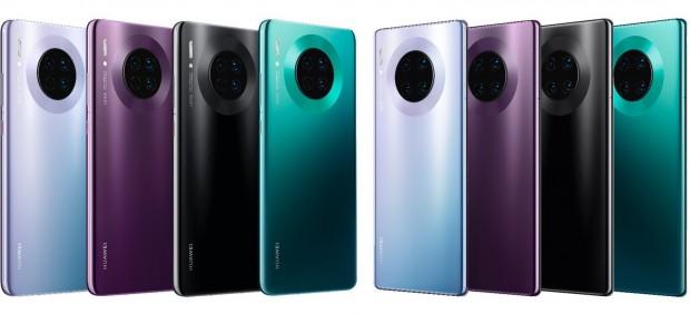 A la izquierda, los Huawei Mate 30, y a la derecha, los Huawei Mate 30 Pro