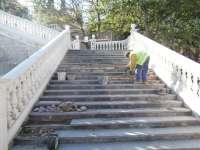 Comienza la restauración de las escaleras del Batallador en el Parque Grande