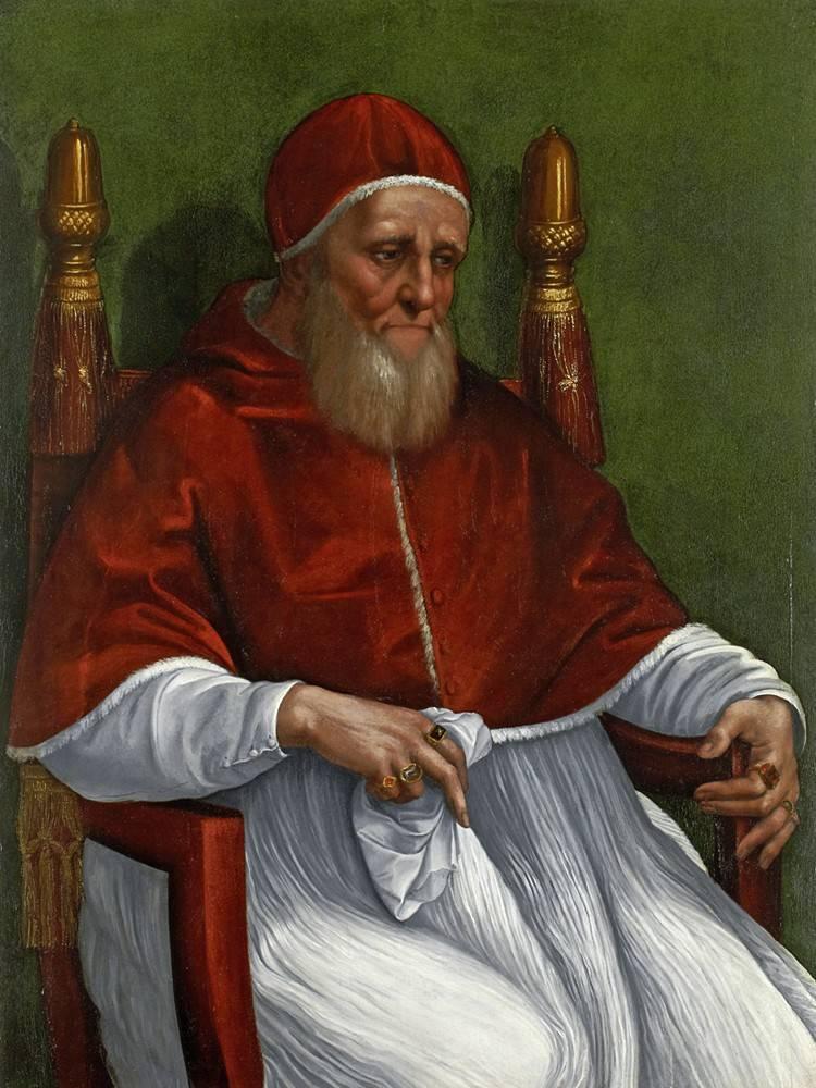 Julio II retratado por Rafael Sanzio en un cuadro datado entre 1511 y ...