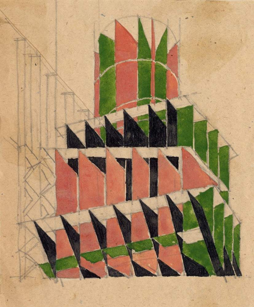 'Color and spatial composition'. Composition in space, 1921
