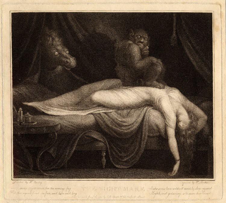 'La pesadilla', grabado de Henry Fuseli