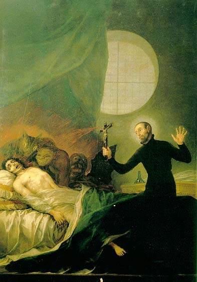 San Francisco de Borja realizando un exorcismo con un crucifijo