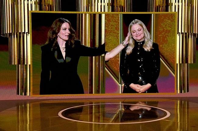 Tina Fey and Amy Poehler speak via livestream during the 78th Annual Golden Globe Awards.