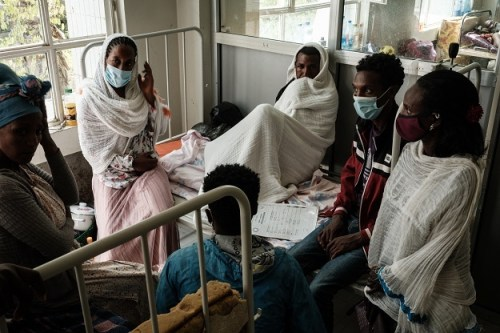 Relatives of a Togoga injured resident, a village about 20km west of Mekele, where an alleged airstrike hit a market.