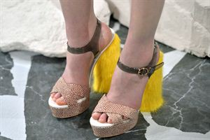Fur-covered shoes are here people! And for spring (nogal).  Image source: Getty