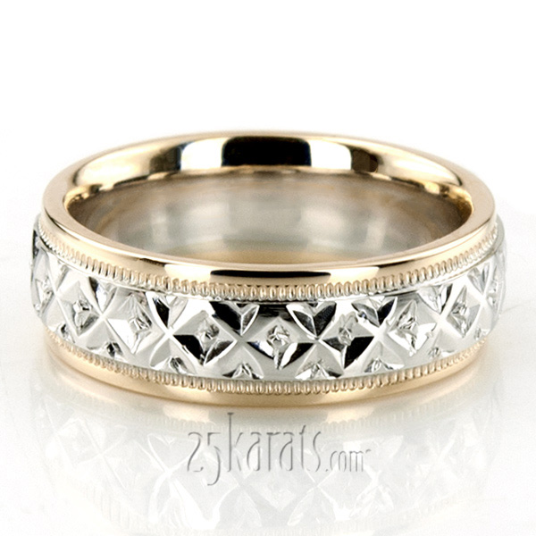 Custom XX Style Fancy Carved Wedding Band FC101073 14K