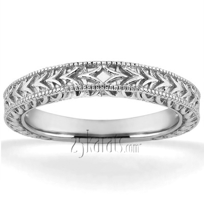 Hand Engraved Vintage Wedding Ring With Filigree And Milgrain