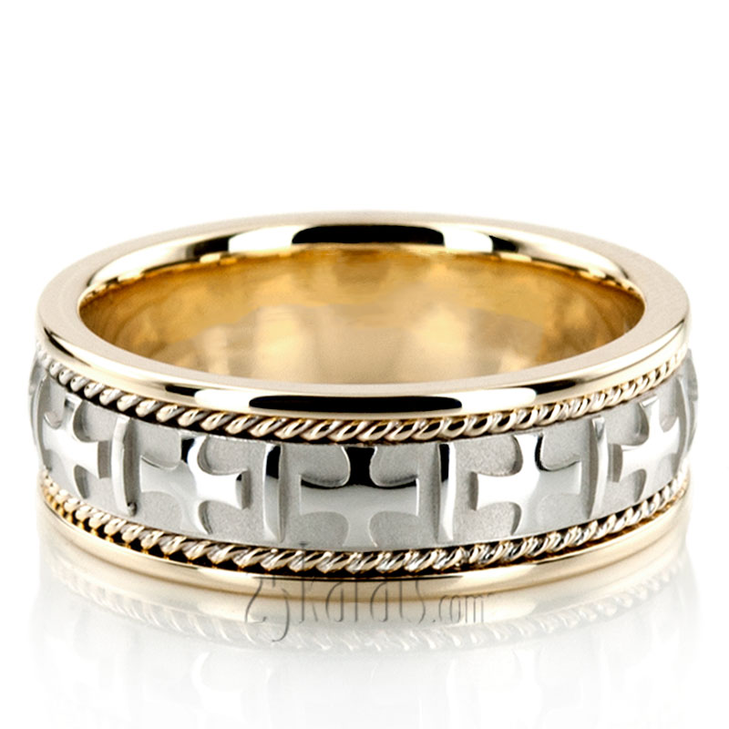 TwoTone Cross Religious Wedding Band  HM036  14K Gold