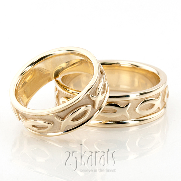 HHHC100290 14K Gold Ichthus Jesus Fish Motif Christian Wedding Band Set