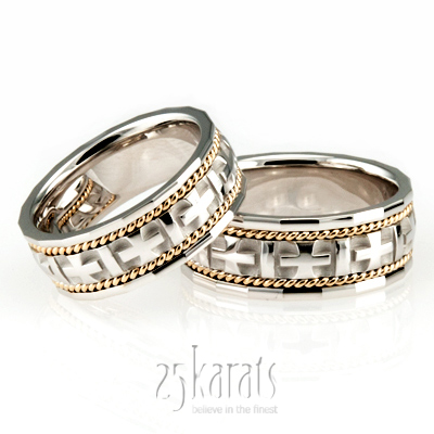 HHHC100140 14K Gold Braided Handcrafted Christian Wedding Ring Set