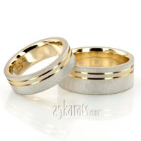 HH-TT216 14K Gold Modern Parallel Cut Two-Tone Wedding ...