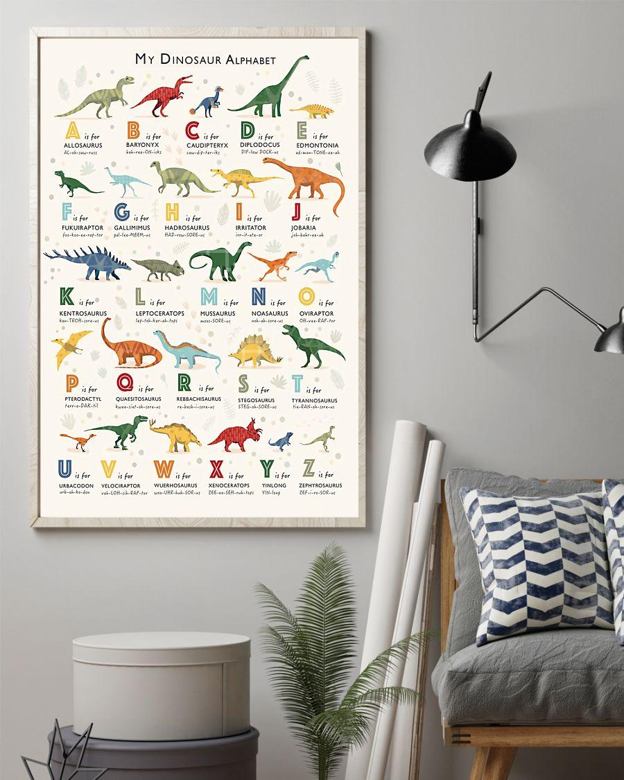 dinosaur alphabet poster 24x36 poster size white