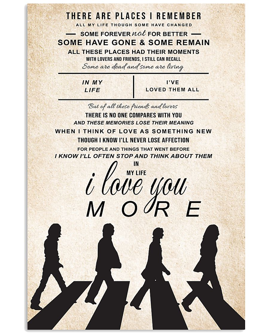 the beatles in my life song lyrics 11x17 poster size white