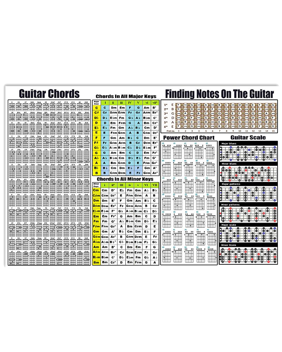 guitar chords 17x11 poster size white