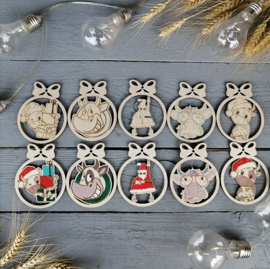Laser Cut New Year Decor Wooden Christmas Ornaments Free Vector