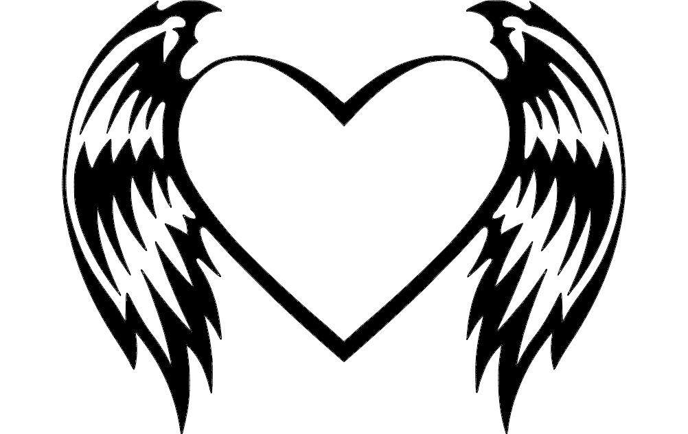 Heart With Wings Dxf File Free Download