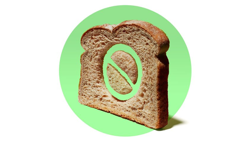 an illustration of a piece of bread on a green background