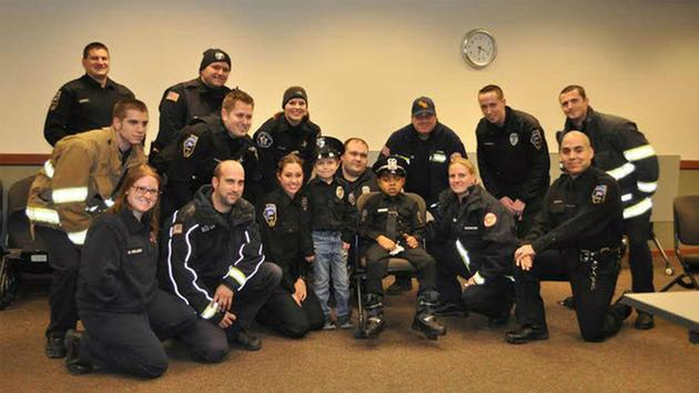 A.J. Peterson getting sworn in as a honorary police office through the Make-A-Wish foundation in Chicago. <span class=meta>Round Lake Police Department</span>
