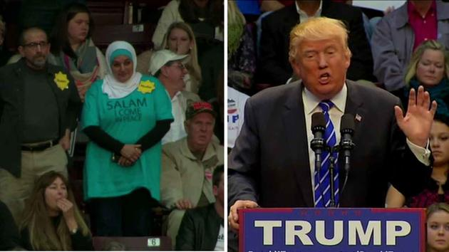 Rose Hamid (Left) in silent protest as Donald Trump (Right) suggested Syrian refugees were affiliated with ISIS during a rally on Friday, Jan. 8, 2016.