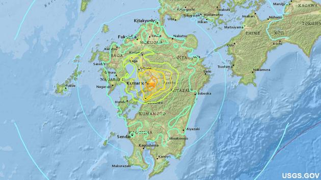 A map from the U.S. Geological Survey shows the location of a powerful earthquake that struck southern Japan on Friday, April 15, 2016.