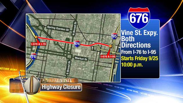 Road, Highway & Bridge Closures from Penndot & DRPA for Pope Francis