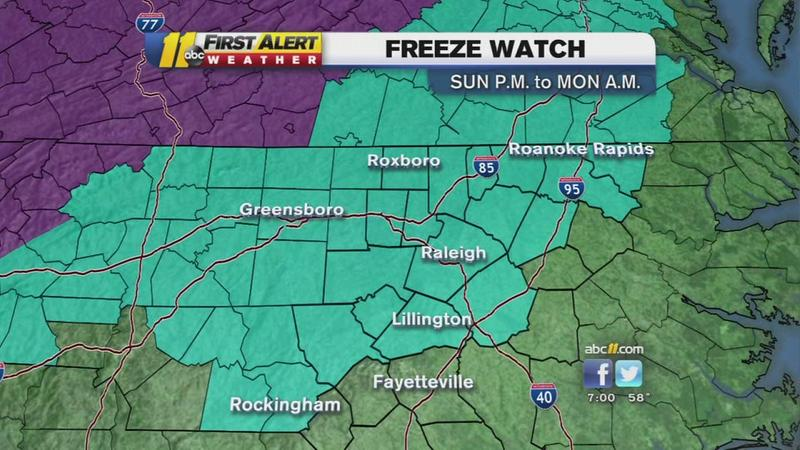 Freeze watch issued for NC