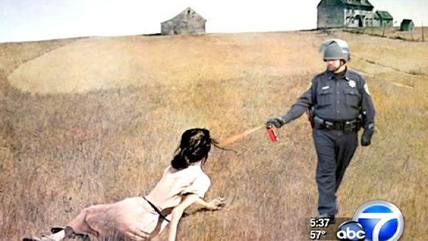 pepper spray cop farm painting