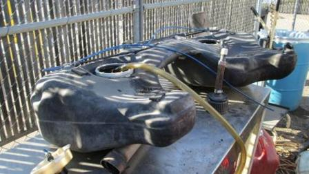 Authorities at the Otay Mesa passenger port of the U.S./Mexico border seized 46 lbs. of crystal meth on Tuesday, July 23, 2013, from a gas tank separated so one half would carry gasoline and the other half would carry narcotics.