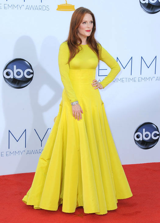 Actress Julianne Moore arrives at the 64th Primetime Emmy Awards at the Nokia Theatre on Sunday, Sept. 23, 2012, in Los Angeles.