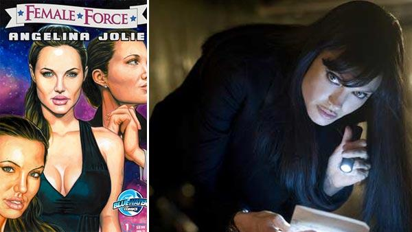 Angelina Jolie is depicted on the cover of the comic book Female Force: Angelina Jolie, which was released on March 30 by Bluewater Productions. / Angelina Jolie appears in a scene from the 2010 movie Salt. - Provided courtesy of Bluewater Productions / Andrew Schwartz, SMPSP / Sony Pictures