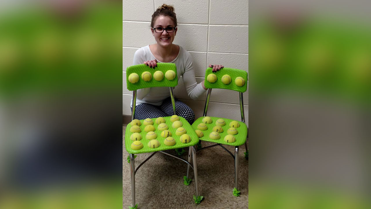 ball chairs for students king tuts chair teacher creates tennis to help with autism
