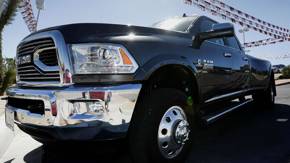 medium resolution of a ram 3500 pickup truck sits on a dealership in yucca valley calif on