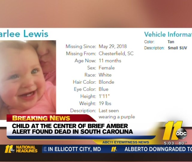 Baby At Center Of Amber Alert In South Carolina Found Dead Mother In Custody Abc Com