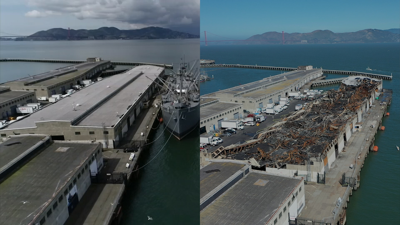 Fisherman S Wharf Fire Abc7 S Droneview7 Captures Before