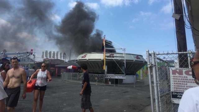 Fire Erupts On Ride Keansburg Amusement Park In Nj Photo Shows Black Smoke