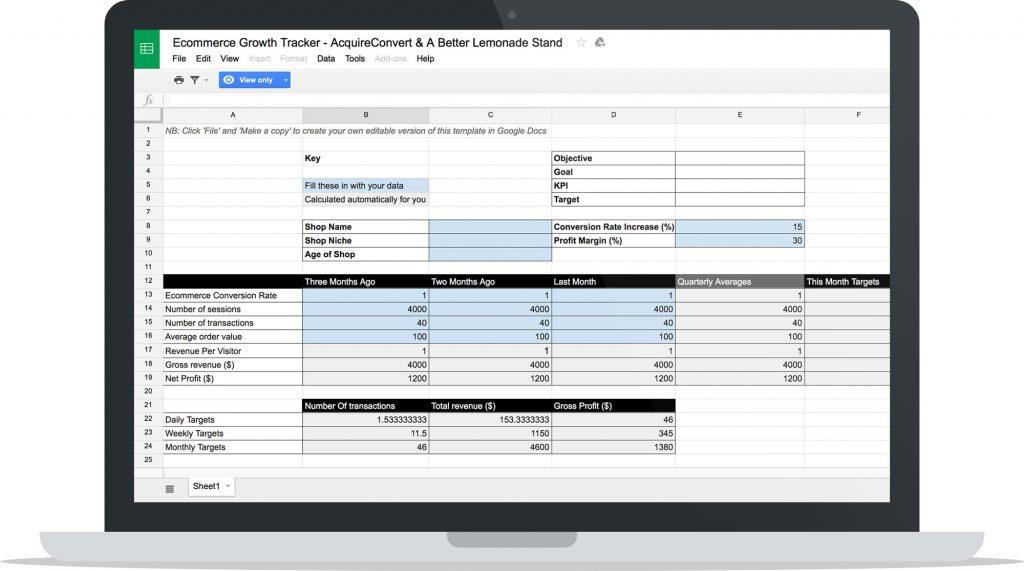 Growth Tracker Spreadsheet