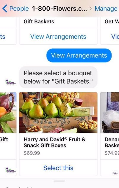 Esempio di chatbot e-commerce 1-800-Flowers