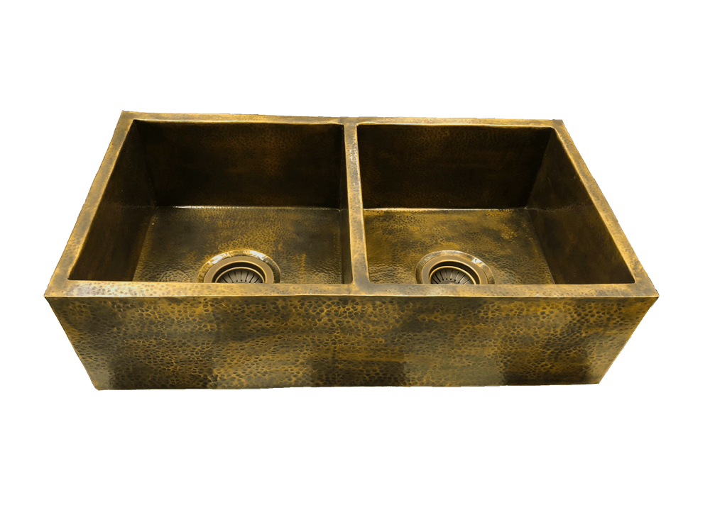 double farmhouse sink covered front