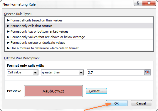 The preview of format changes is displayed in the Preview box.