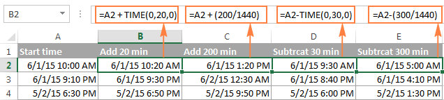 calculate time in excel